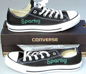 converse shoe engraved with a laser