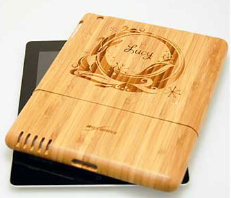 Laser etched ipad case.