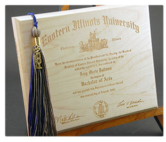 Laser engraved wood diploma.