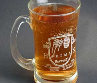 Glass mug engraving.
