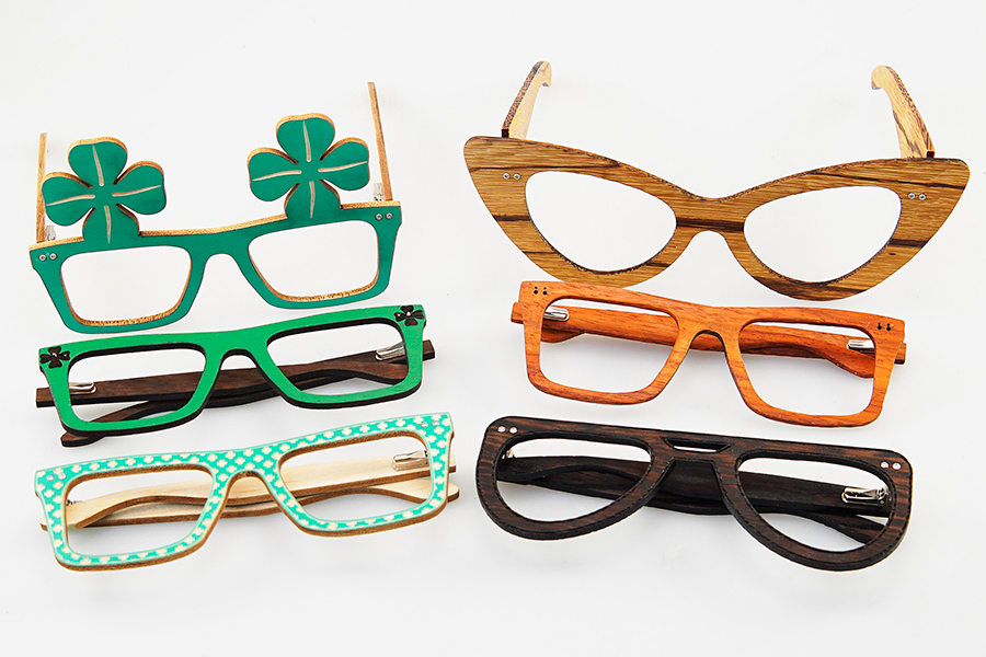 laser cut wooden glasses