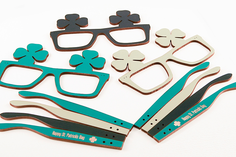 laser cut st. patraick's day glasses