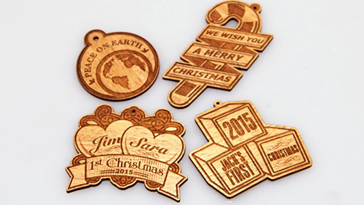 Laser Cut and Engraved Wooden Ornaments