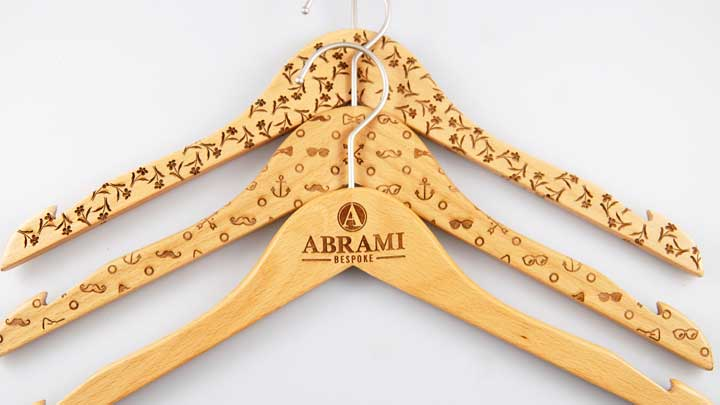 laser engraving wooden coat hangers