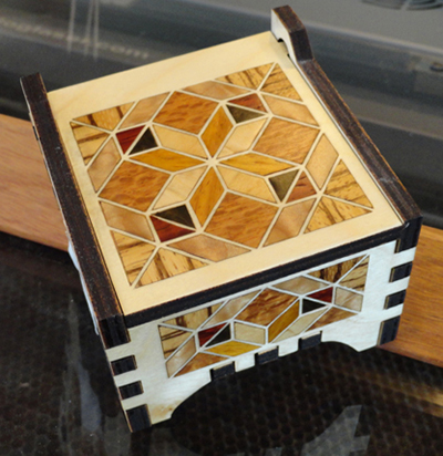 finished veneer inlay quilters box