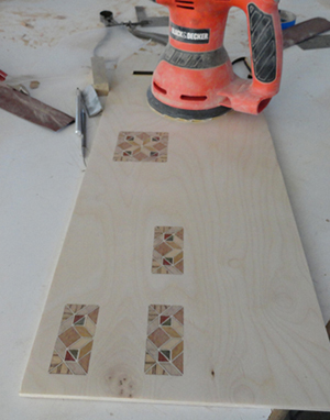 sanding inlay veneer pieces