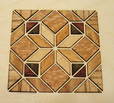 inlay pieces placed in pattern