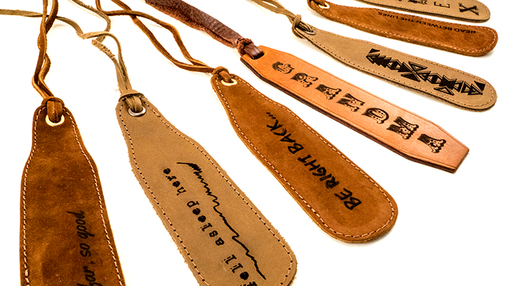 laser engraved leather bookmarks
