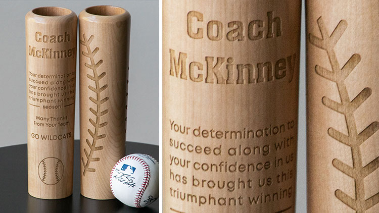 laser engraved baseball bat mugs