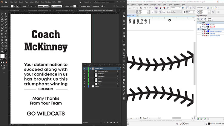Design files for laser engraving baseball cups