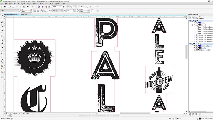 design file for laser engraving beer tap handles