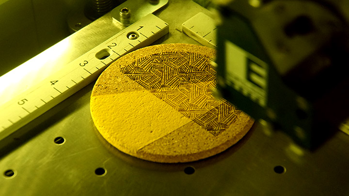 Engraving a cork coaster