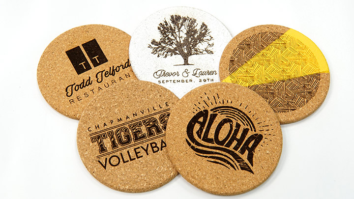 custom laser engraved cork coasters