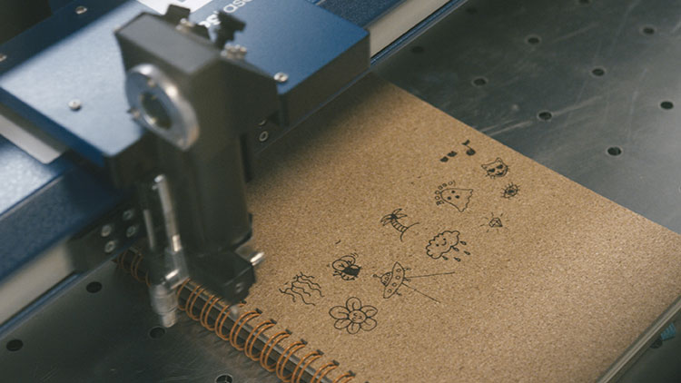 laser engraving cork notebooks