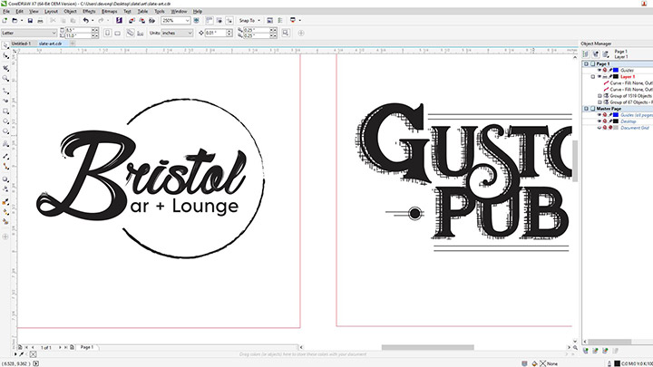 A screen shot of growler art in Corel Draw