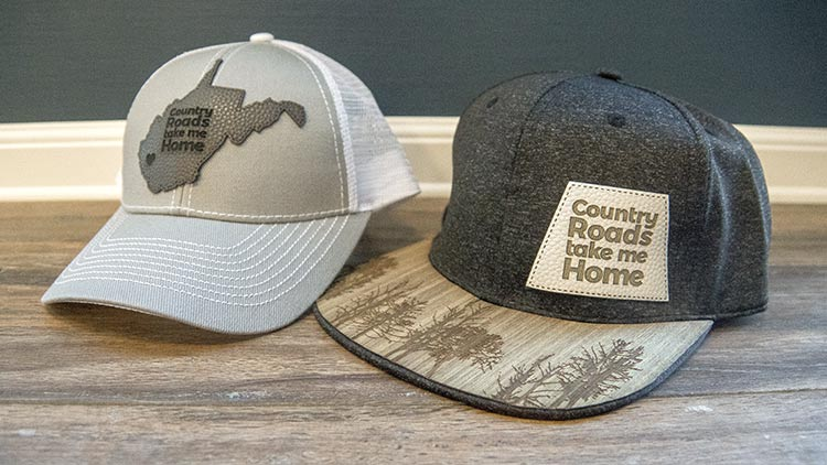 close up of laser engraved hat accessories