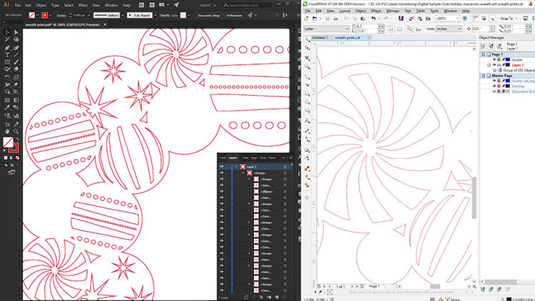 Design files for laser cutting Christmas wreaths.