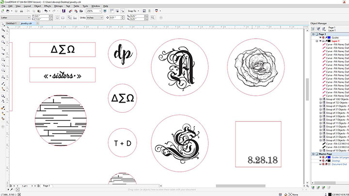 Screenshot des Schmuckdesigns in Corel Draw