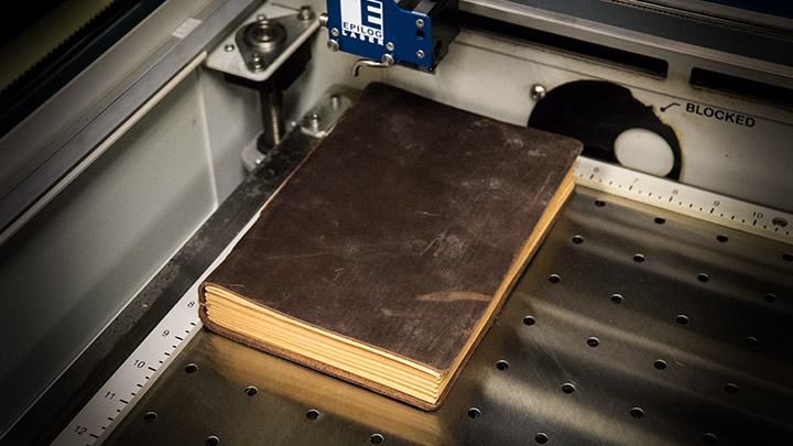 laser engraving a blank leather journal