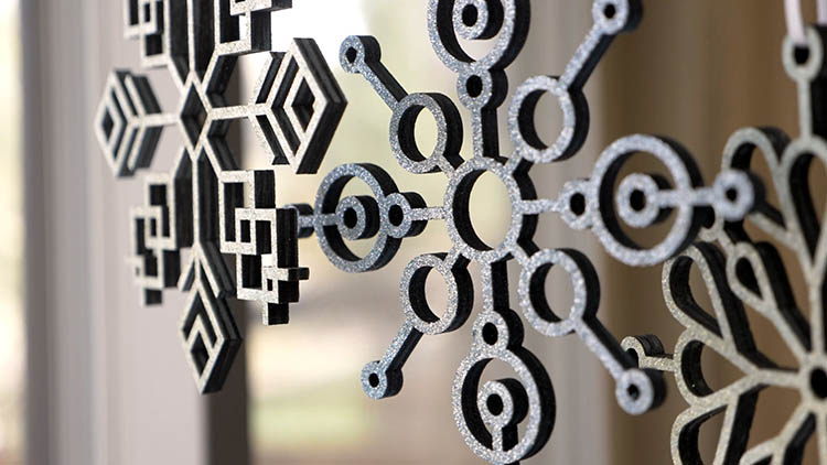 Laser cut snowflake decorations