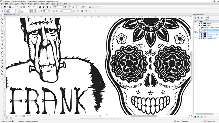 A screen shot of the pumpkin art in Corel Draw