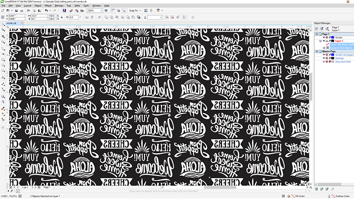 A screen shot of the rolling pin art in Corel Draw