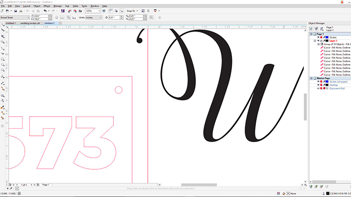 A screen shot of sign art in Corel Draw