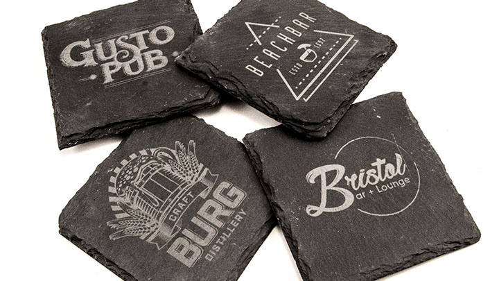 custom laser engraved slate coasters