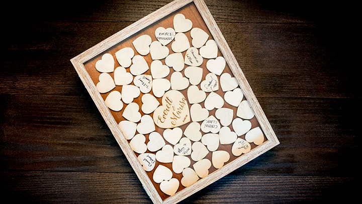 Custom laser engraved wedding guestbook shadow box