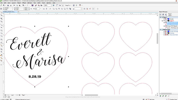 design files for a wedding guestbook shadow box