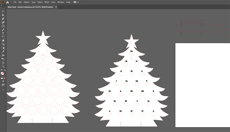 Adventsträdfiler i Illustrator