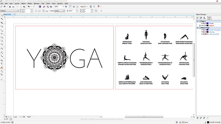 yoga block art corel draw.